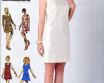 FREE US SHIP Project Runway Sewing Pattern Mod dress Out of Print Lined Dress Pocket Variations Simplicity 0304 1776 New Uncut Size 12/20