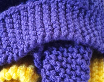LSU Hand Knit Lap/Baby Blanket