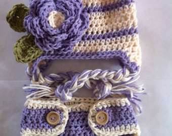 Hat and diaper cover, diaper cover, diaper cover set, newborn photo prop, baby hat, newborn hat, newborn diaper cover, crochet baby hat