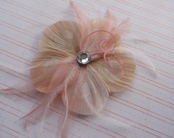 ALICIA Ivory, Pink, and Coral Flower Peacock Feather Hair Clip, Feather Fascinator