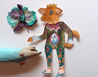 original paper doll articulated, articulated decoration, imaginary animal hand painted hand cut, original wall art, illustration, animal art