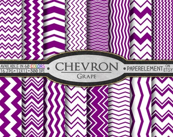 Grape Purple Chevron Digital Paper Pack - Instant Download - Chevron Paper for Digital Scrapbooking