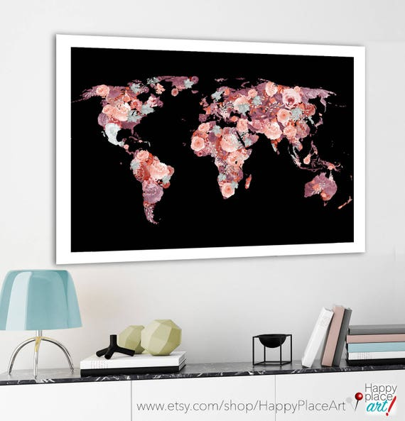 Pretty world map floral world map red and black print world pretty world map floral world map red and black print world map poster map with meaningful quote motivational message flower art print gumiabroncs Gallery