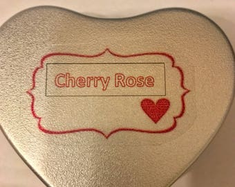 Heart shaped tin scented candle