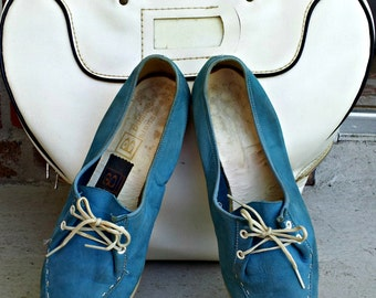 Vintage Brunswick Bowling Shoes | Baby Blue Women's Leather Rockabilly Shoes