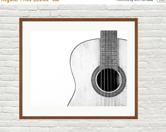FLASH SALE til MIDNIGHT Vintage Acoustic Gutar in Black and White Top Right Section View, One Photo Print, Boys Room decor, Vintage Car Prin