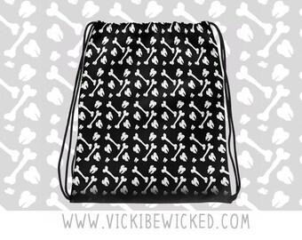 Drawstring Backpack, Alternative, Bones and Teeth, School Bag, Handbag