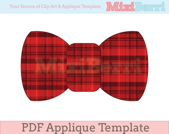 Bow Tie Applique Template PDF Instant Download