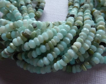 Shop Sale.. 1/4 Strand, PERUVIAN OPAL Rondelles Beads, Luxe AAA, 3.5-4 mm, October birthstone aqua blue gray exotic