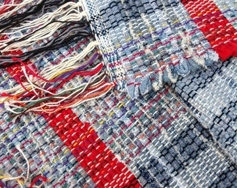 """Woven denim rag rug cherry red accents 49"""" x 26"""" hand crafted from repurposed jeans washable durable floor covering throw rug fringes #144"""