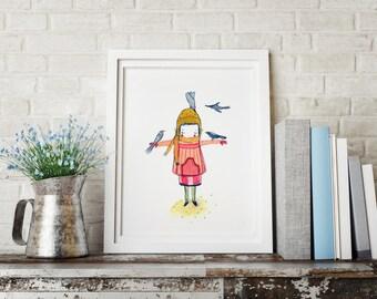 Girls room decor, Art for girls room, girls room art, art for kids room, girls wall decor, wall art for girls, prints for girls room