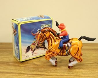 "Vintage Mechanical ""Cowboy on Horse"" Wind-Up Tin Litho Toy in Original Box - MTU - Made in Korea"