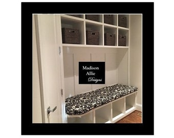 Custom Mudroom Bench Cushions and Covers with Side Notches