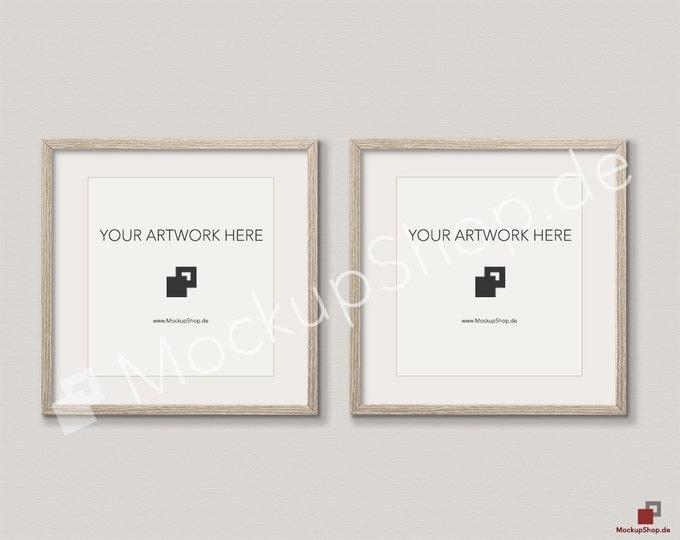 Set of 2 SQUARE MOCKUP FRAME on beige wall, Frame Mockup, Amazing brown photo frame mockup, Digital Download Square Frame Mockup