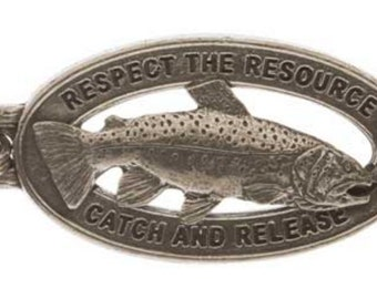 Pewter ~ Catch & Release Rainbow Trout Keychain ~ FK114