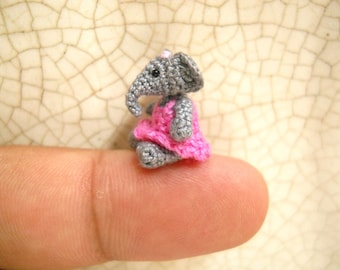 Little Elephant Girl - Micro Amigurumi Crochet Elephant Stuffed Animal  - Made To Order