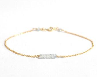 Aquamarine bracelet in Gold or Silver, March Birthday Gift, Gemstone bar bracelet, Aquamarine gold bracelet, March Birthstone Jewelry