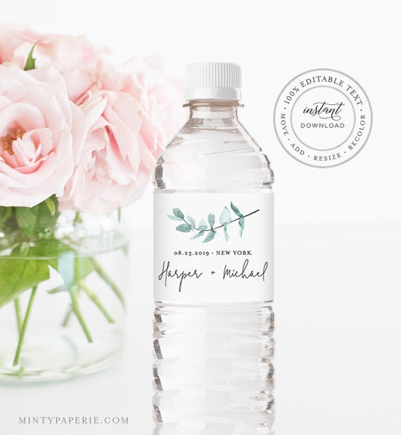 Water Bottle Label Template, INSTANT DOWNLOAD, Printable Custom Label, 100% Editable, Greenery Wedding Favor, Bridal Shower Favor #049-109BL