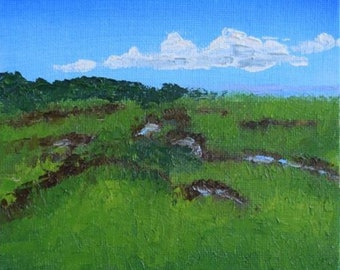 "A View of a Salt Marsh, mini painting, 6""x6"" oil on canvas panel board, framed."