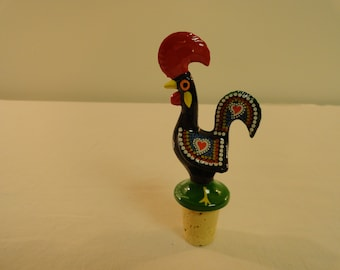 Beautiful Colorful Handpainted Rooster Wine Stopper From Portugal