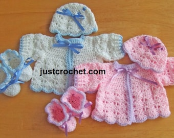 Cardigan, Bonnet and Booties Baby Crochet Pattern (DOWNLOAD) 66