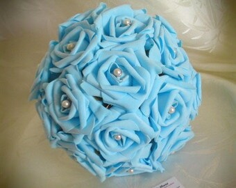 Artificial turquoise roses wedding bouquet