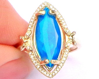 New Solid 10k Gold, Ultra Rare Blue Welo Opal Ring,Yellow Gold Setting, Diamond Halo,Ethiopian Opal, Natural Gemstone,Marquise Cut Opal,OOAK