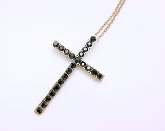 Cross Necklace, Gothic Necklace, Black necklace