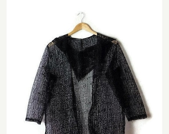ON SALE Vintage  Black Lacy / crochet Long sleeve Hooded Blouse Parka from 80's*