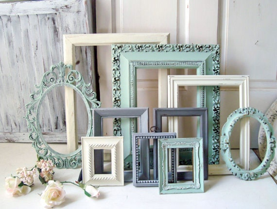 Mint and Cream Painted Frames Shabby Chic Ornate Frames Gray