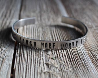 Laugh More, Worry Less Hand Stamped Aluminum Cuff Bracelet | downbytheseaglass