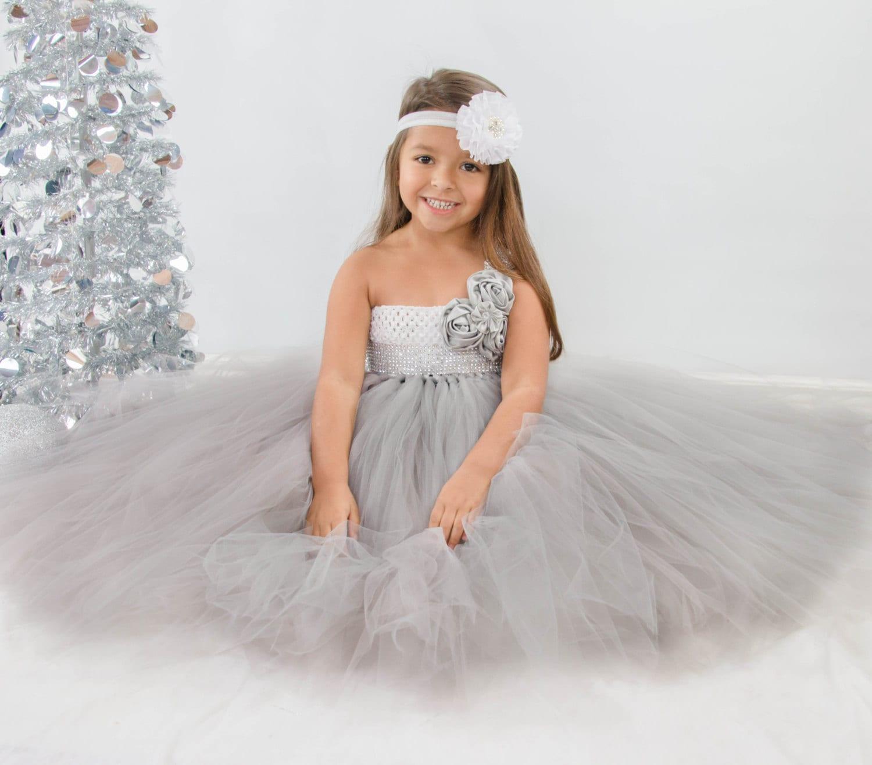 Silver gray and white flower girl dress with rhinestones zoom mightylinksfo