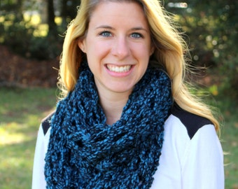 Black and Blue Scarf - Knit Infinity Scarf - Knit Scarf - Chunky Knit Scarf - Infinity Scarf - Chunky Infinity Scarf - Knitted Scarf
