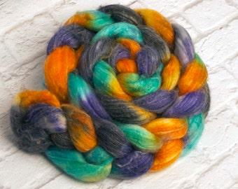 "Hand-dyed Combed Top (Roving) Spinning Fiber, Panda (Superwash Merino, Bamboo and Nylon) - ""Musical Notes"" 4 ounces"