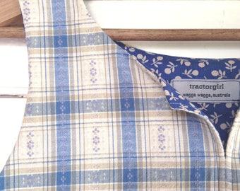 summer shirt sleeveless top - easy fit Small - preppy garden check