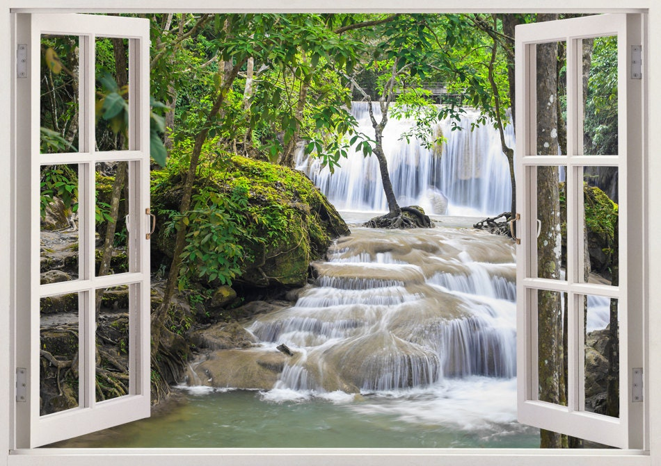Waterfall Wall Art 3d Window Waterfall Vinyl Wall Decal For