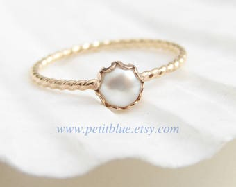 Pearl Ring ~ June Birthday ~ 14K GF Pearl Ring ~ Gift for Her ~ June Birthstone ~ Small Pearl Ring ~ Simple Modern Jewelry by PetitBlue