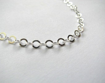 4mm Flat Cable Chain, 16 INCH Necklace, Sterling Silver Round Cable Chain Flat Links, Solid 925, comes with Lobster Clasp