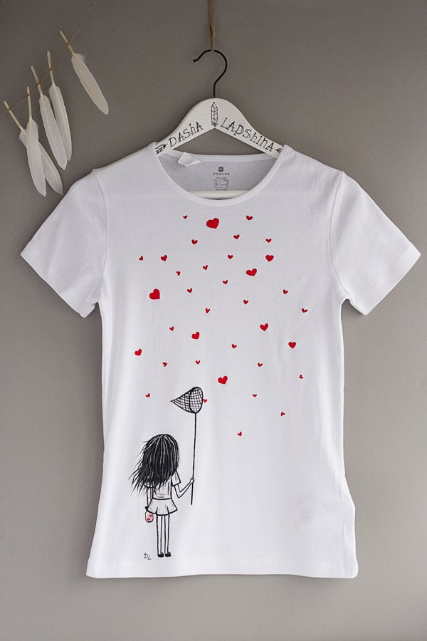Hand painted Women T-shirt with a girl with scoop-net and