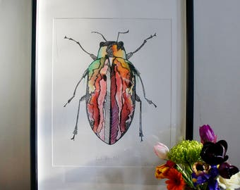 Red Watercolour Beetle