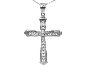 925 Sterling Silver Cubic Zirconia Cross Pendant