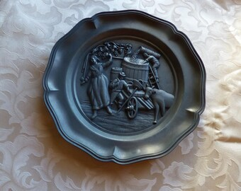 Collectible High Quality German Pewter Wall Plaque Depicting The WIne Harvest from the 60ties