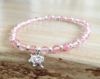 Sterling Silver and Rose Quartz Gemstone Dainty Bead Bracelet with Sterling Silver Elephant Pendant
