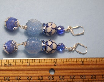 "3"" 1/4 L Blue Jeans 6 blue n white porcelain, blue dragon fire agate stones, dangle, drop earrings"
