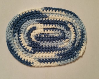 OOAK, Blue, Light Blue and White Crocheted Oval Rag Rug, Flooring, for Dollhouse or Diorama