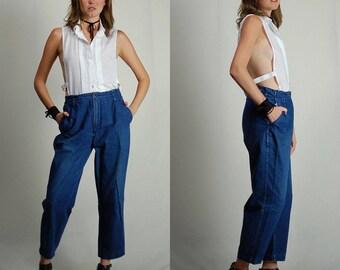 Vintage Jeans / Vintage Denim / 90s Jeans / Crop Jeans / Dark Rinse / High Waist Jeans / Tapered / Indigo Jeans / Dungarees / Size 29 Waist