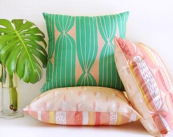 Modern Cactus Stripe throw pillow, green and blush pink • original cactus-inspired textile • mid-century modern