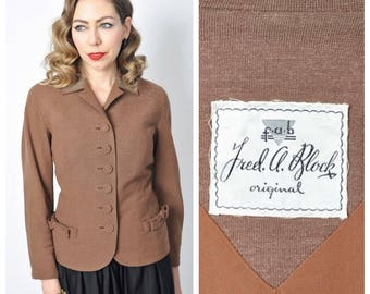Vintage 1950's Fred A Block Studded Blazer/ 50's Brown Jacket with Silver Studding Size Small