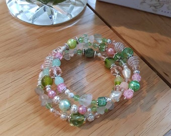 Green And Pink Glass Bead Bracelet