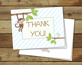 Printable thank you notes, folded thank you cards, jungle shower, instant download